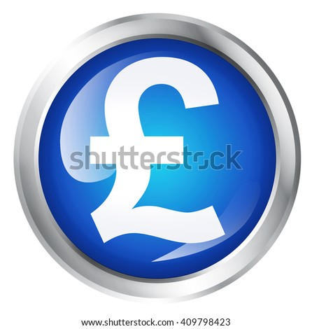 Glossy icon or button with pound sterling symbol.