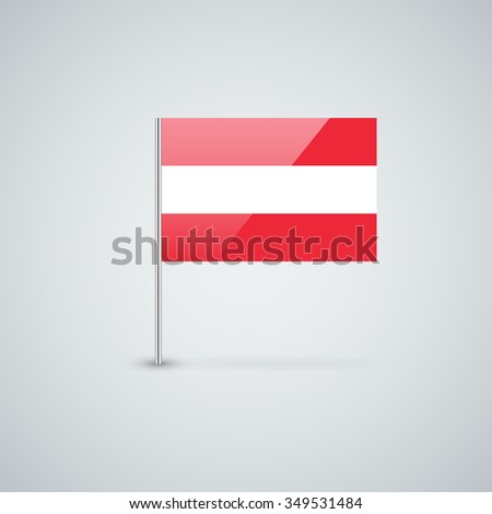 Glossy icon with Austrian flag. Correct proportions and color scheme. - stock photo