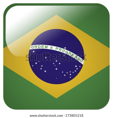 Glossy icon with flag of Brazil - stock photo