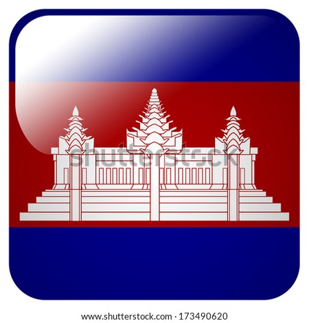 Glossy icon with flag of Cambodia - stock photo