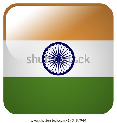 Glossy icon with flag of India - stock photo