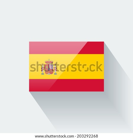 Glossy icon with national flag of Spain isolated on white background (raster illustration) - stock photo