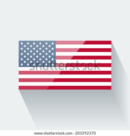 Glossy icon with national flag of the USA. Correct proportions and color scheme. Raster illustration. - stock photo