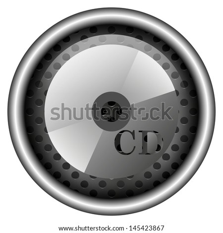 Glossy icon with white design on metallic background
