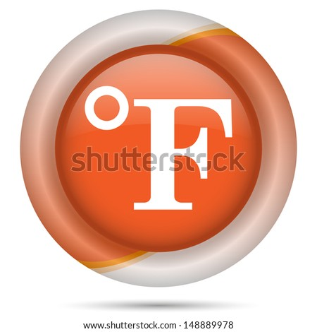 Glossy icon with white design on orange plastic background - stock photo