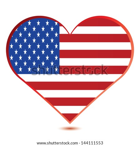 Glossy illustration showing a heart with the flag of the United States of America.