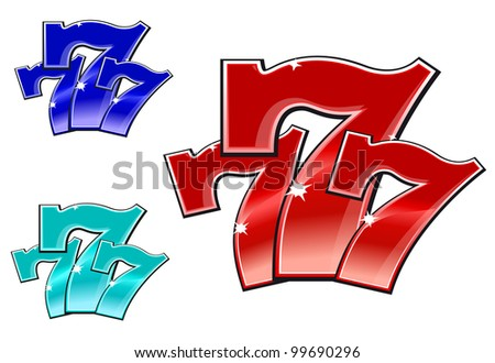 Glossy 777 jackpot symbol isolated on white background. Vector version also available in gallery