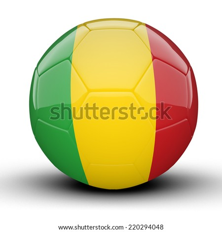 Glossy Mali football ball flag isolated on white background - stock photo