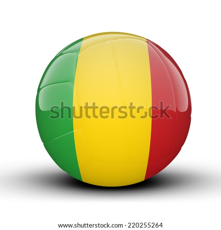 Glossy Mali volleyball ball flag isolated on white background - stock photo