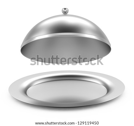Glossy metal restaurant cloche on white background - stock photo