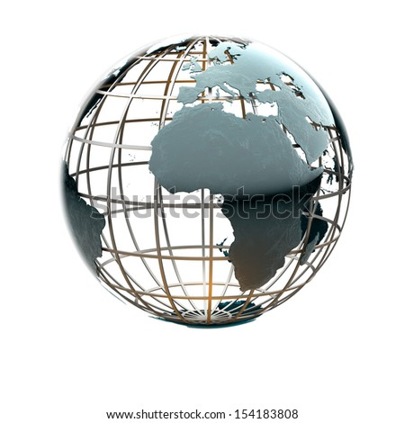 Glossy metallic globe continents on a metal grid facing Africa and the Atlantic Ocean - stock photo