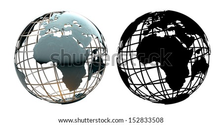 Glossy metallic globe continents on a metal grid facing Africa - with corresponding alpha mask - stock photo