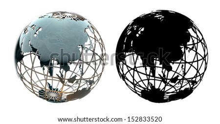 Glossy metallic globe continents on a metal grid facing Asia - with corresponding alpha mask - stock photo