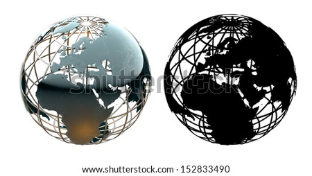 Glossy metallic globe continents on a metal grid facing Europe - with corresponding alpha mask - stock photo