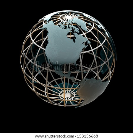 Glossy metallic globe continents on a metal grid facing North America - stock photo