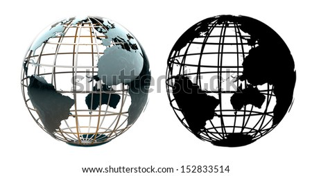 Glossy metallic globe continents on a metal grid facing the Atlantic Ocean - with corresponding alpha mask - stock photo