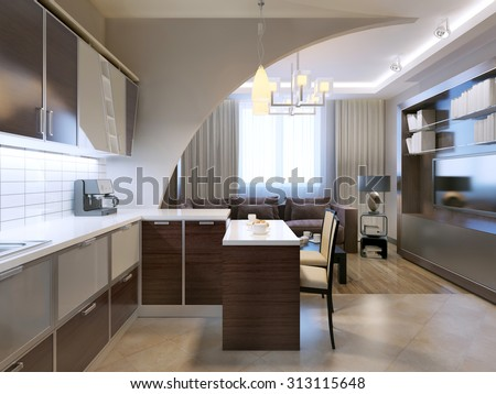 Glossy minimalist kitchen with bar and lounge on background. Zebrano facade furniture, unusual shepes, white tiled backsplash. 3D render