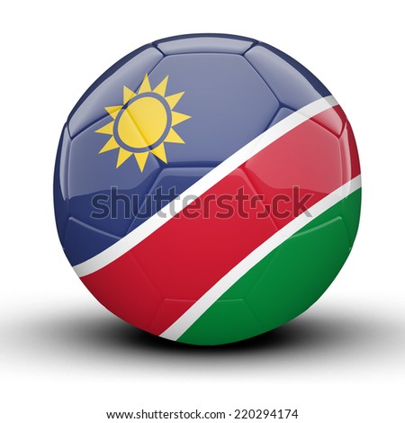 Glossy Namibia football ball flag isolated on white background