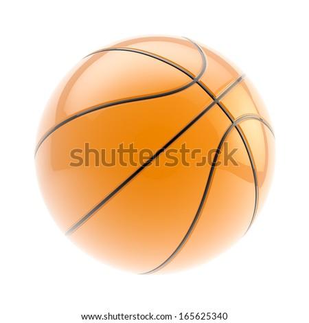 Glossy orange basketball ball 3d render isolated over white background - stock photo