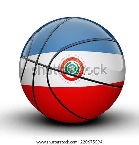 Glossy Paraguay basketball ball flag isolated on white background