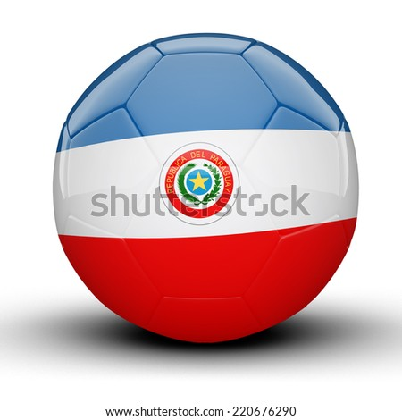 Glossy Paraguay football ball flag isolated on white background