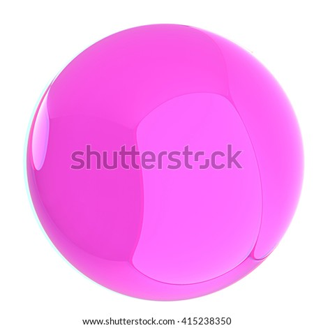 Glossy pink sphere. 3D illustration. Anaglyph. View with red/cyan glasses to see in 3D.
