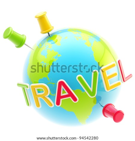 Glossy planet traveling sign isolated on white