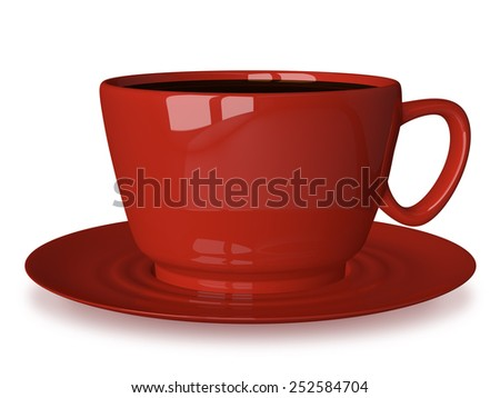 Glossy red cup of coffee or tea on saucer isolated on white - stock photo