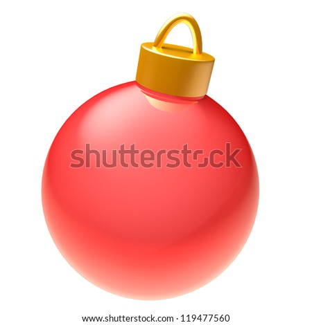 Glossy red 3D Christmas ball isolated on white background - stock photo