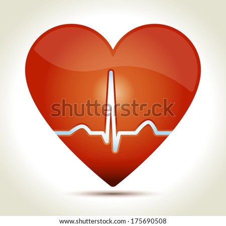 Glossy red heart with normal EKG sinus rhythm and shadow on light background. - stock photo