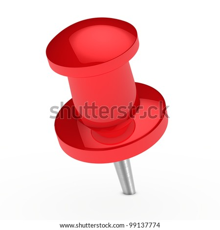 glossy red notepaper pin on white background - stock photo