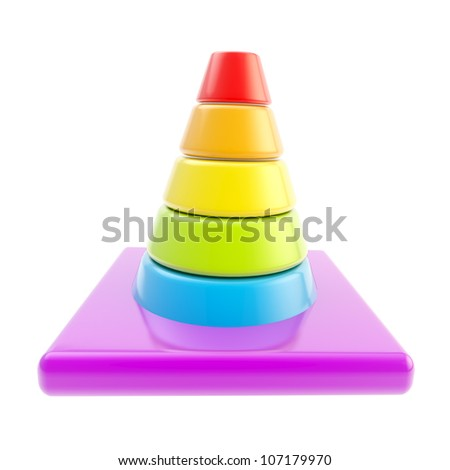 Glossy road cone colored in rainbow gradient isolated on white