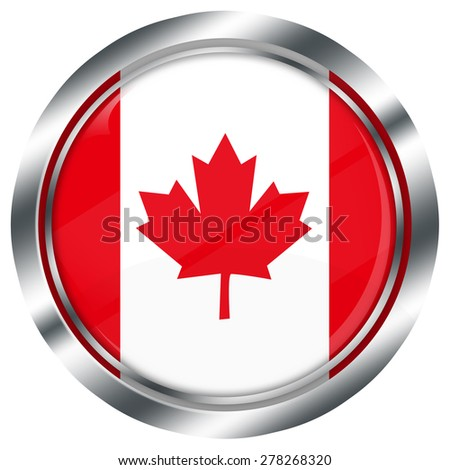 glossy round canadian flag button for web design with metallic border, illustration, white background, isolated,  - stock photo