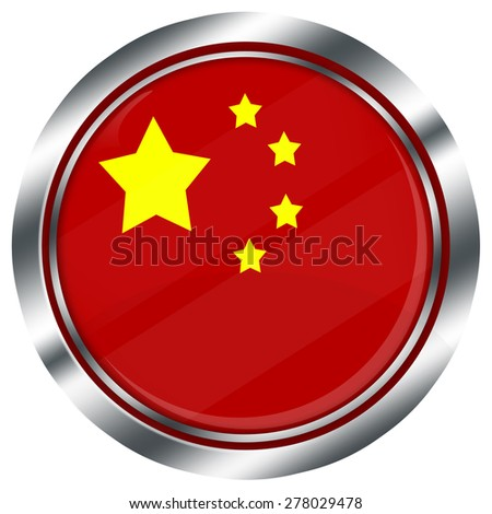 glossy round chinese flag button for web design with metallic border, illustration, white background, isolated,  - stock photo