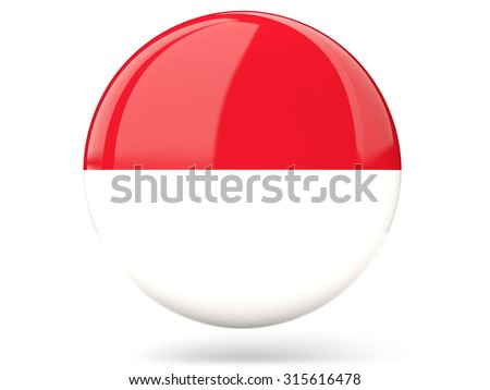 Glossy round icon with flag of indonesia - stock photo