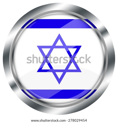 glossy round israel flag button for web design with metallic border, illustration, white background, isolated,  - stock photo