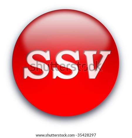Glossy round SSV (Sommer-Schluss-Verkauf) button isolated over white background - stock photo