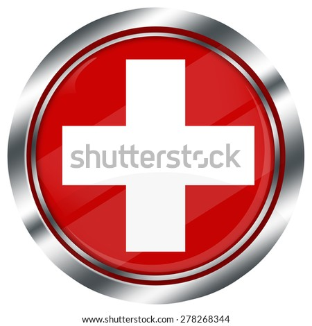 glossy round swiss flag button for web design with metallic border, illustration, white background, isolated,