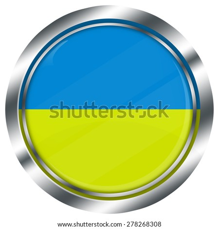 glossy round ukrainian flag button for web design with metallic border, illustration, white background, isolated,  - stock photo