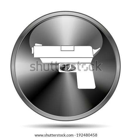 Glossy shiny glass icon on white background - stock photo