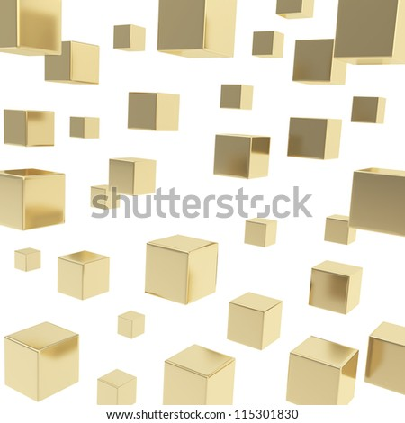 Glossy shiny golden cube composition over white background as abstract backdrop - stock photo