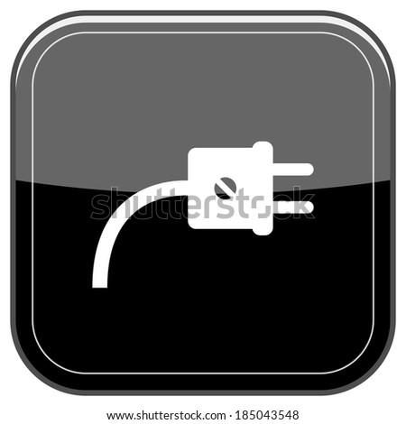 Glossy shiny icon - black internet button - stock photo