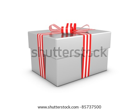 Glossy silver gift box on the white background.