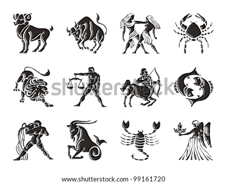 Glossy sings of the Zodiac - stock photo