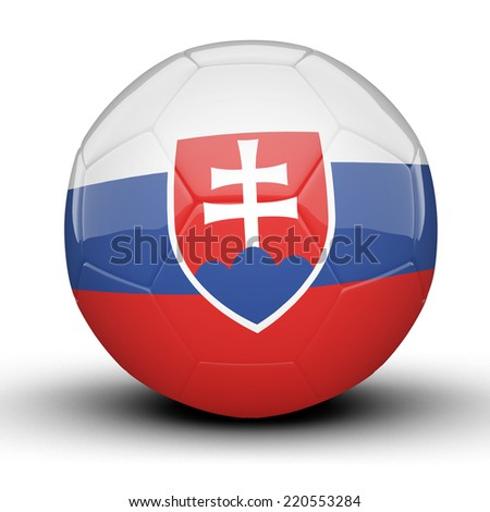 Glossy Slovakia football ball flag isolated on white background
