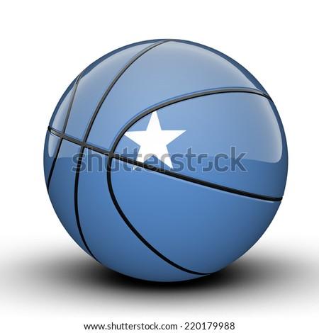 Glossy Somalia basketball ball flag isolated on white background - stock photo