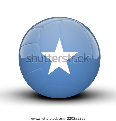 Glossy Somalia volleyball ball flag isolated on white background - stock photo