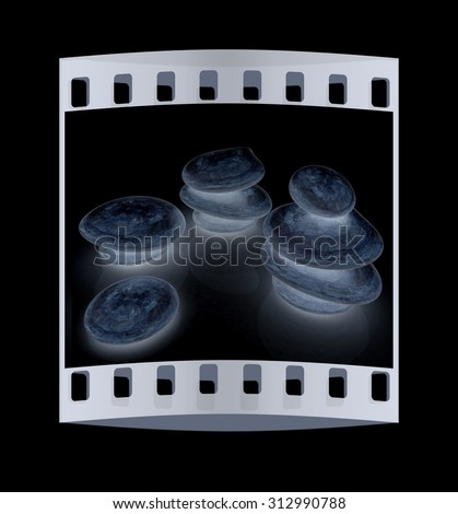 Glossy spa stones. 3d icon. The film strip - stock photo