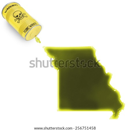 Glossy spill of a toxic substance in the shape of Missouri (series) - stock photo