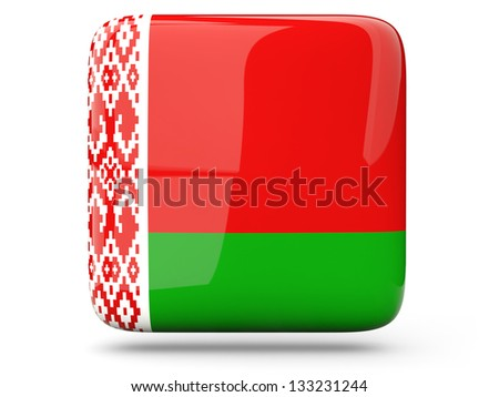 Glossy square icon of flag of belarus - stock photo